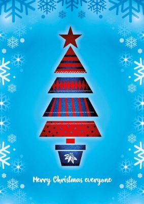illustration red Xmas tree blue snow background