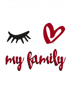 Eye-love my family black,red and white