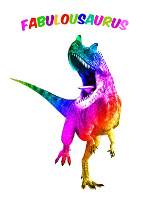 T-Rex in rainbow colours