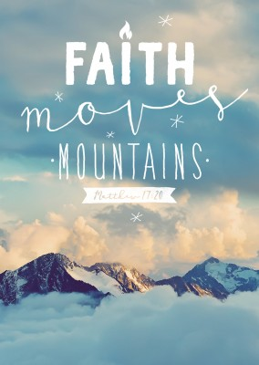 postcard Faith moves mountains