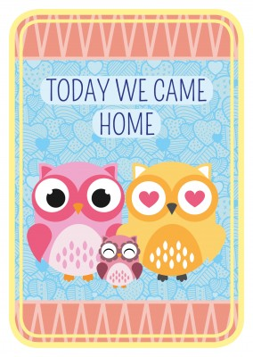 Today we came home-lettering with owls on a cute backround