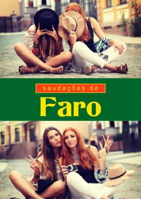 Faro greetings in Portuguese language green, red & yellow
