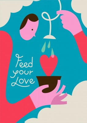 Stefano Marra postcard design Feed your love