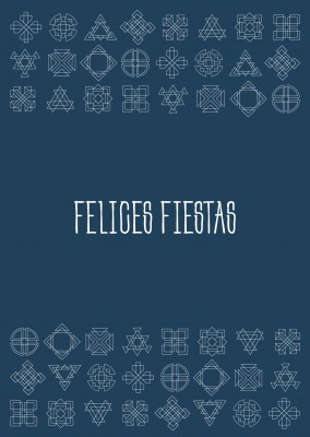 Felices Fiestas fondo azul con estampado étnico