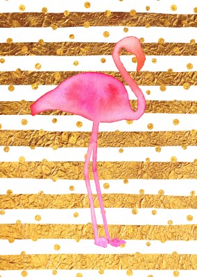 Kubistika flamingo with golden stripes in the back