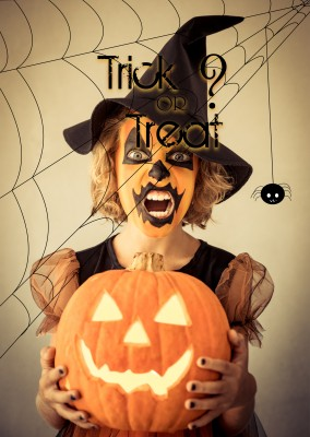 Over-Night-Design Halloween Postkarte Trick or treat