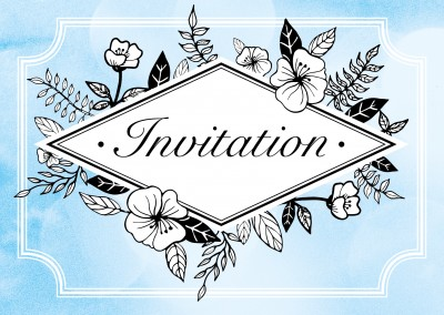 Blue invitationcard with flower ornaments