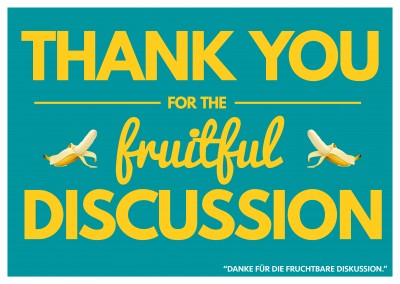 Lustiger Denglisch-Spruch mit thank you for the fruitful discussion–mypostcard
