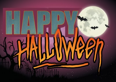Happy halloween with fullmoon and bats