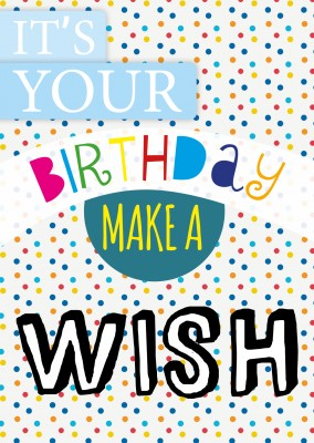 its your birthday make a wish design postkarte