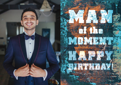 man of the moment happy birthday postkarte design grusskarte