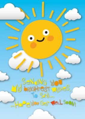 sweet yellow sun kids postcard motive
