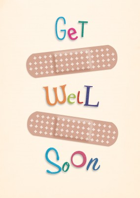 get well soon patch postcard motive