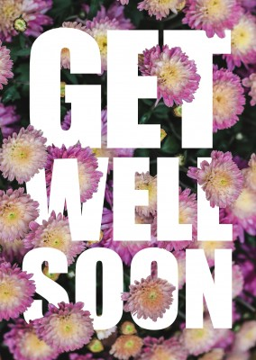 flower get well soon postcard