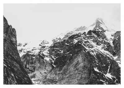 black and white photo of a glacier