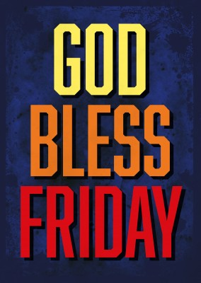 Vintage Spruch Postkarte: God bless friday