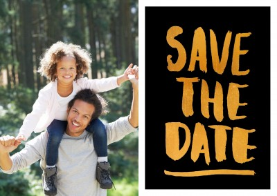 Save the date in golden lettering on black background–mypostcard