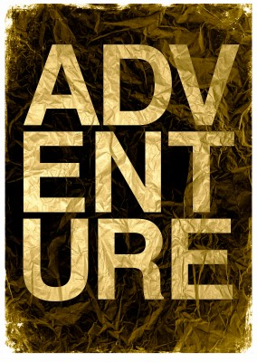 Kubistika adventure in golden lettering