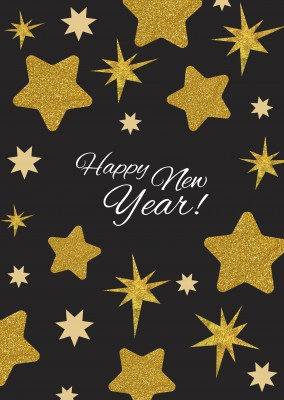 Happy New Year with golden stars