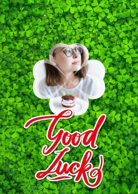 Personalize card with space for one photo, cloverleafs in the background and a red lettering good luck