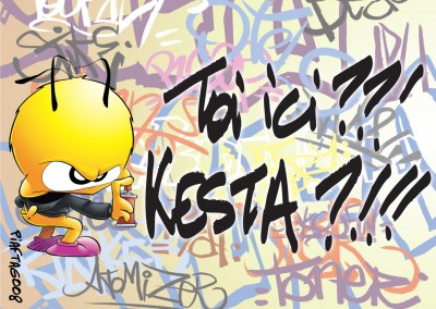 Le Piaf quote Graffiti tag Toi ici kesta