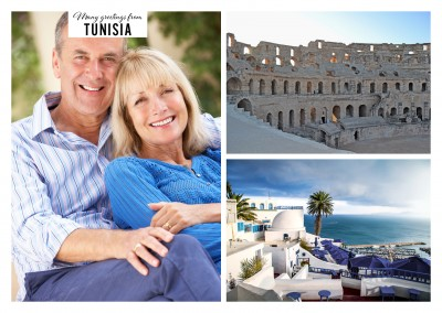 two photos of the amphitheater and coast architecture of Tunisia