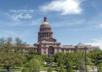 Austin's Texas State Capitol with botanical garden