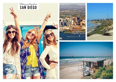 three photos of San Diego's beach and skyline