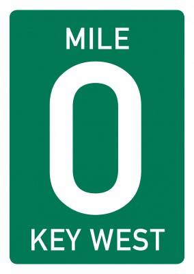 green road sign with big zero, white lettering