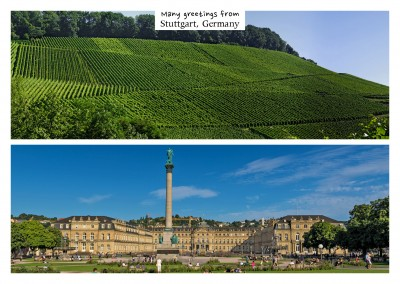 Panoramic photocollage of Stuttgart's vineyards and castle–mypostcard