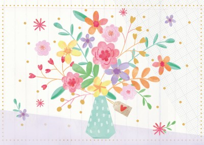 pastel coloured illustration of a bouquet