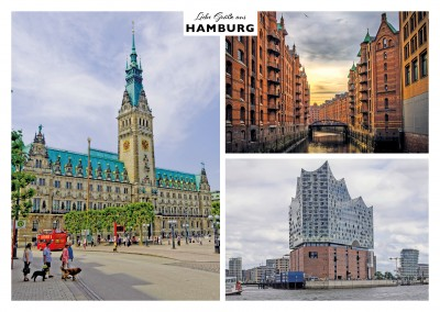 Hamburg's architectural features - Speicherstadt, town hall and Elfi