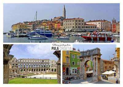 Pula's amphitheater and harbour in three photos