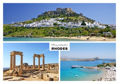 Rhodo's ancient architecture and beach landscape