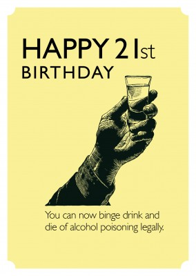 Happy 21st Birthday funny greeting card with retro illustration of a drink