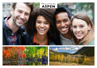 Collage with two photos of Aspen's mountainous region