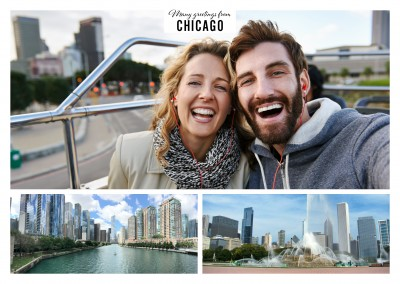 two photos of Chicago's skyline and Buckingham Fountain