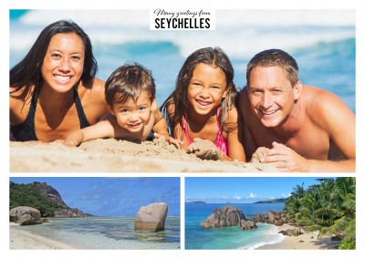Exotic beaches of the Seychelles in two photos