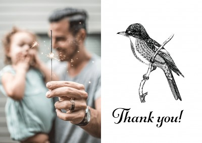 Thank you - Graphics with black bird on white flowered ground