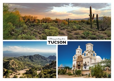 View to Tucson - a spanish church and th desert