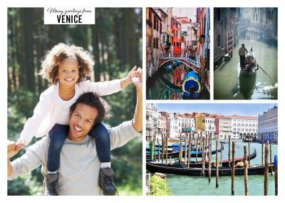 Three photos of Venice with gondolas and Basilica di Santa Maria della Salute