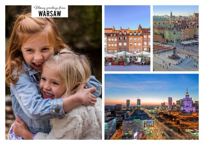 Old warsaw city, view to the whole cityscape and the Wilanow palace