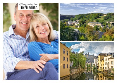 two photos of a riverbank and a village in Luxembourg