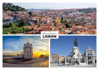 Postcard Lissabon with three photos