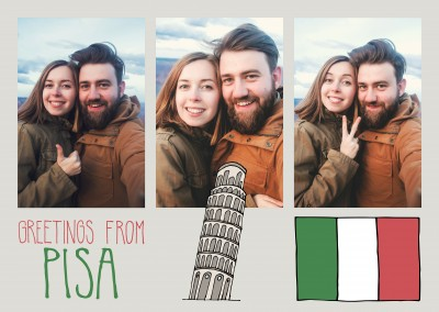 template with illustrations from Pisa tower of Pisa and italy flag