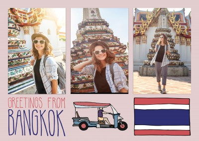 template mit illustrationen von Bangkok