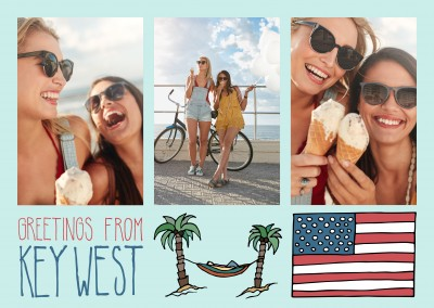 template mit Illustrationen von Key West USA Flagge und palmen