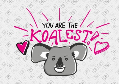 The Koalest Koalabär illustration mit Herz in grau, weiß, pink