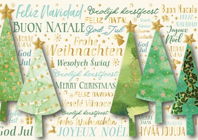 illustration christmas trees various languages