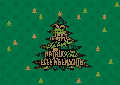 illustration christmas tree various languages